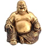 """Bellaa 21770 A Golden Happy Buddha(Laughing Buddha) Feng Shui for Money and Wealths 6"""" Inches Copper"""