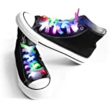 Mrupoo Multicolor LED Shoelaces Light Up Nylon Shoestring Lighting The Night for Christmas Party Hip-Pop Dancing Cycling Runn