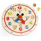 Hape E1600 Happy Hour Clock Kid's Wooden Time Learning Puzzle