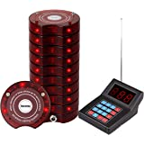 Retekess SU-668 Pager System for Office Max 999 Beepers Wireless Calling System with 10 Coaster Pagers for Restaurants Food T