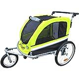 Booyah Large Pet Bike Trailer Dog Stroller & Jogger with Shocks- Green