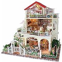 Wyd永久DIY木製ドールハウスミニチュア人形House LEDライトアセンブリキット3dパズルクラフトトイクリエイティブ子供誕生日ギフト