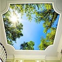Mingld カスタム3D壁壁画壁紙風景空天井壁画壁紙日光緑の森ホテルレストランリビングルームの背景-250X175Cm