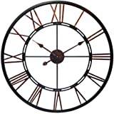Infinity Instruments Fusion 28-Inch Oversized Decorative Roman Numerals Quartz Movement Large Metal Wall Clock for Living, Ki