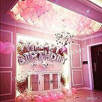 誕生日 飾り付け 女の子 風船 バルーンセット ピンク( 誕生日パーティー飾り付けセット) 誕生日カード付( ピンク 白 バルーン セット約60個+ 誕生日ロゴ )(HAPPY BIRTHDAY ロゴ1個 ピンク風船+白色風船 計60個 銀色星 4個 ピンク星 1個セット)