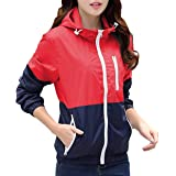 Miouke Womens Lightweight Windbreakers Sun Protection Outdoor Hooded Sports Outwear Quick Dry Jacket Lovers Coat