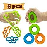 Hand Grip Strengthener Finger Exerciser Grip Strength Trainer (6 PCS)*New Material*Forearm Grip Workout Finger Stretcher Reli