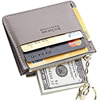 Women Slim Leather Credit Card Wallet with Key Chain Card Sleeve Coin Purse