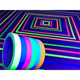 GreyParrot Tape UV Tape Blacklight Reactive, (6 Pack), (6 Colors), 33ft Per Roll, Fluorescent Cloth Tape, UV Black Light Reac