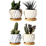 Succulent Pots, Krisami Marble Pattern Flower Planter Pot with Bamboo Tray, Small Plants Ceramic Flowerpot, Garden Planters,