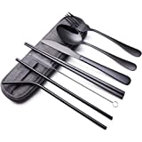 Portable Stainless Steel Flatware Set, Travel Camping Cutlery Set, Portable Utensil Travel Silverware Dinnerware Set with a W