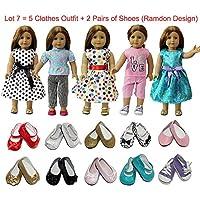 ZITA ELEMENT アメリカガールドール用服きせかえ7点セット=5セット服装+2足靴1/4サイズ(約46cm)ドール適用