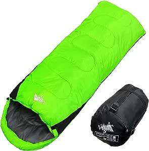 WhiteSeek 寝袋 シュラフ 封筒型 コンパクト収納 抗菌仕様 最低使用温度0℃ 1300 (NEWグリーン)