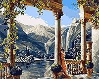 LoveTheFamily 数字油絵 数字キット塗り絵 手塗り DIY絵 デジタル油絵 40 x 50 cm ホーム オフィス装飾 -女性