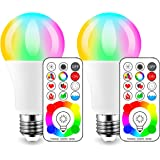 (2 Pack) - iLC LED Colour Changing Light Bulb with Remote Control RGBW - 120 Different Colour Choices - RGB Daylight and Whit