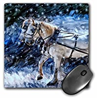 3drose LLC 8x 8x 0.25インチマウスパッド、Clydesdale Holiday Snowy Painting inブルー色相MP _ 164728_ 1)