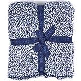 (ベアフット ドリームス)Barefoot Dreams ブランケット COZYCHIC HEATHERED THROW #603 190×137 INDIGO-WHITE [並行輸入品]