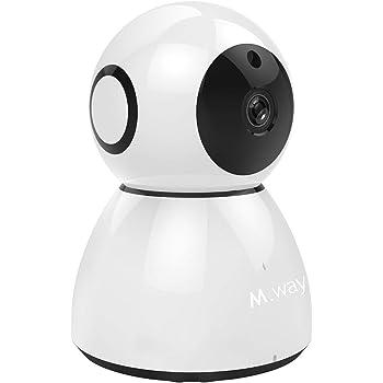 M.Way ネットワークカメラ 1080P 200万画素 WIFIワイヤレス無線ネットワーク防犯カメラ 屋内 ベビーモニター 監視カメラ 双方向音声 首振り動体検知 警報機能 暗視撮影 遠隔操作 回転可能 ペット/子供/老人/猫犬ペット等留守番 iOS/Android/Windows対応 日本電波法認証(TELEC) 日本語説明書付き