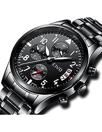 [チーヴォ]CIVO腕時計 メンズウオッチブラック ステンレススチールクロノグラフ防水 日付カレンダーアナログクオーツ時計 ビッグアラビア数字 ビジネスカジュアル男性用腕時計
