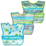 green sprouts Snap and Go Wipe-Off Bibs Aqua Space, 9-18 Months, Pack of 3, Aqua Space, 9-18mo, 2.08 Ounces
