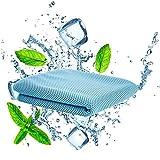 QcoQce 冷却タオル 運動タオル 軽量 速乾 超吸水 UVカット 熱中症対策 猛暑を対策に (ブルー)