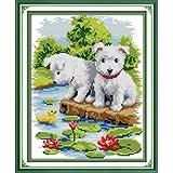 クロスステッチ刺繍キット 布地に図柄印刷 蓮池2匹の子犬