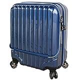 スーツケース 機内持込 軽量 小型 フロントオープン ダブルファスナー 4輪 ss 【W-Receipt】 キャリーケース キャリーバッグ 前ポケット (SS-33L, ネイビー)