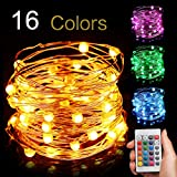 EIISON Led String Light Battery Powered, Multi 16 Color Changing 16ft with Remote, Modes Changeable, Waterproof indoor & outdoor 50 Fairy Starry Micro LEDs, for Party Christmas Decorations,