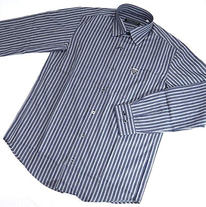 シーボードコンテンポラリー傾いた40272 秋冬 日本製 ボタンダウンシャツ 長袖 ストライプ 総柄 ネイビー(紺) サイズ 46(M) Vittorio Carini 紳士服 メンズ 男性用