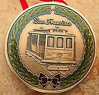 """San Franciscoクリスマスオーナメントdkc-1603-b San Francisco Cable CarクリスマスオーナメントカスタムHand Engraved Mintedアンティーク真鍮の1.75""""直径1.8Oz DKCミントシリーズ"""