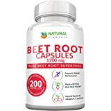 Beet Root Capsules - 1200mg Per Serving - 200 Beet Root Powder Capsules - Beetroot Powder Supports Blood Pressure, Athletic P