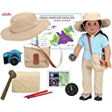 Smithsonian Paleontologist Set for Dolls or Plush Friends   9 Piece Set with Hat, Satchel, Camera, Dig Block, Compass and Mor