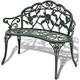 vidaXL Garden Bench 100cm Cast Aluminium Green Outdoor Garden Patio Park Chair