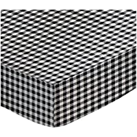 SheetWorld PC-W930 PC-W930 Fitted Portable / Mini Crib Sheet - Black Gingham Check - Made In USA by sheetworld
