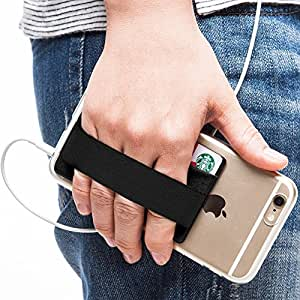 Sinjimoru カードケース 携帯ストラップ スマホ落下防止 SUICA, PASMO, ICOCA カードケース ハンドストラップ スマホストラップ スマホケース (ブラック)