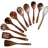 Wooden Utensils for Cooking,NAYAHOSE 10 PCS Teak Wooden Cooking Spoons and Spatula for Cooking including Spoon Ladle Fork (10