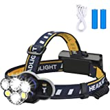 Rechargeable Headlamp, 8 Modes Waterproof Flashlight Head Lights 6 LEDs for Camping Hiking Hunting Outdoors, 2 X 18650 Battri