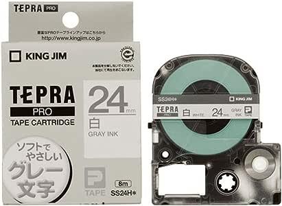 キングジム テプラPRO テープカートリッジ カラーラベル(ソフト) SS24H 白/グレー文字