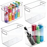 mDesign Slim Plastic Storage Container Bin with Handles - Bathroom Cabinet Organizer for Toiletries, Makeup, Shampoo, Conditi