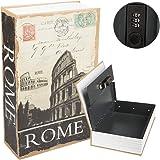 Kyodoled Diversion Book Safe with Combination Lock, Safe Secret Hidden Metal Lock Box,Rome