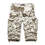 メンズ ワークパンツ ハーフ パンツ 迷彩 カモフラ ミリタリー 春夏 大きいサイズ 綿 カジュアル 半パン 半ズボン ゆったり ベルト付き