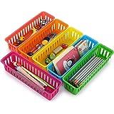 BTSKY 12 Pack Classroom Pencil Basket Trays, Colorful Pencil Organizer Crayon Basket Long Office Supply Baskets Organization