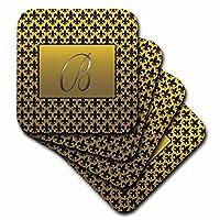 (set-of-8-Soft) - 3dRose cst_36080_2 Elegant Letter B Embossed in Gold Frame Over a Black Fleur-De-Lis Pattern on a Gold Background-Soft Coasters, Set of 8
