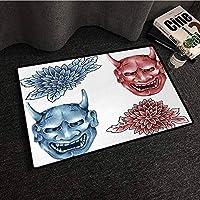 フロントマットホームデコレーションカーペットカラフルな歌舞Maskマスク、日本の悪魔図の異なる色のマスク華やかな花アート、青赤白、W35 XL47浴室用滑り止めノンスリップ 80x50cm