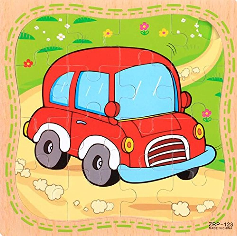 HuaQingPiJu-JP 創造的な木製の教育的なパズルアーリーラーニング番号の形の色の動物のおもちゃ子供のための素晴らしいギフト(車)