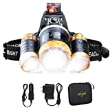 LETOUR Headlight, Brightest 6000 Lumen CREE LED Work Headlamp,18650 Rechargeable Waterproof Flashlight Zoomable Head Light,Br