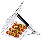 Barbecue Grill Basket, Foldable Non Stick Stainless Steel Wire Mesh Net Clip, Portable BBQ Grill Tool with Handle for Fish Ve