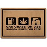 Red Forest Arts Funny Kitchen Door Mats Gas Grass Ass Nobody Rides Free Home Decor Welcome Floor Mat Non-Woven Fabric Top a N