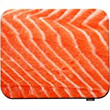 Swono Salmon Fillet Mouse Pads Fresh Fish Seafood Piece of Big Red Salmon Fillet Over White Mouse Pad for Laptop Funny Non-Sl