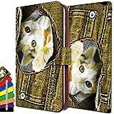 KEIO ケイオー Fx0 LGL25 ケース 手帳型 猫柄 LGL25 手帳 ネコ Fx0 カバー LGL25 カバー 猫 デニム イエロー FX 手帳型ケース 0 手帳型ケース LGL 手帳型ケース 25 手帳型ケース ittn猫デニムイエローt0299